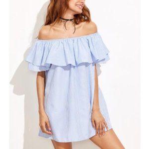 Zara | Poplin Blue Frilled Off-the-Shoulder Dress